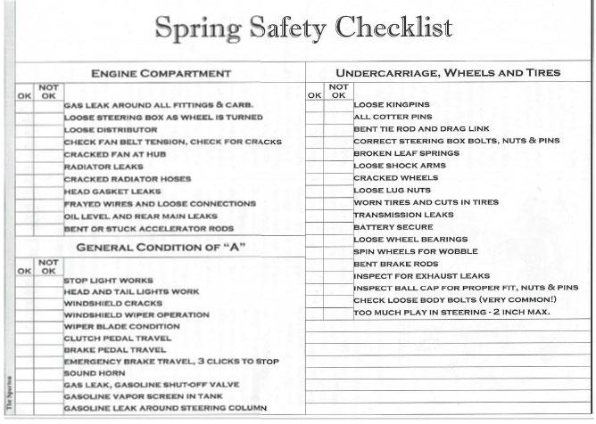 model-a-club-tech-spring-safety-checklist
