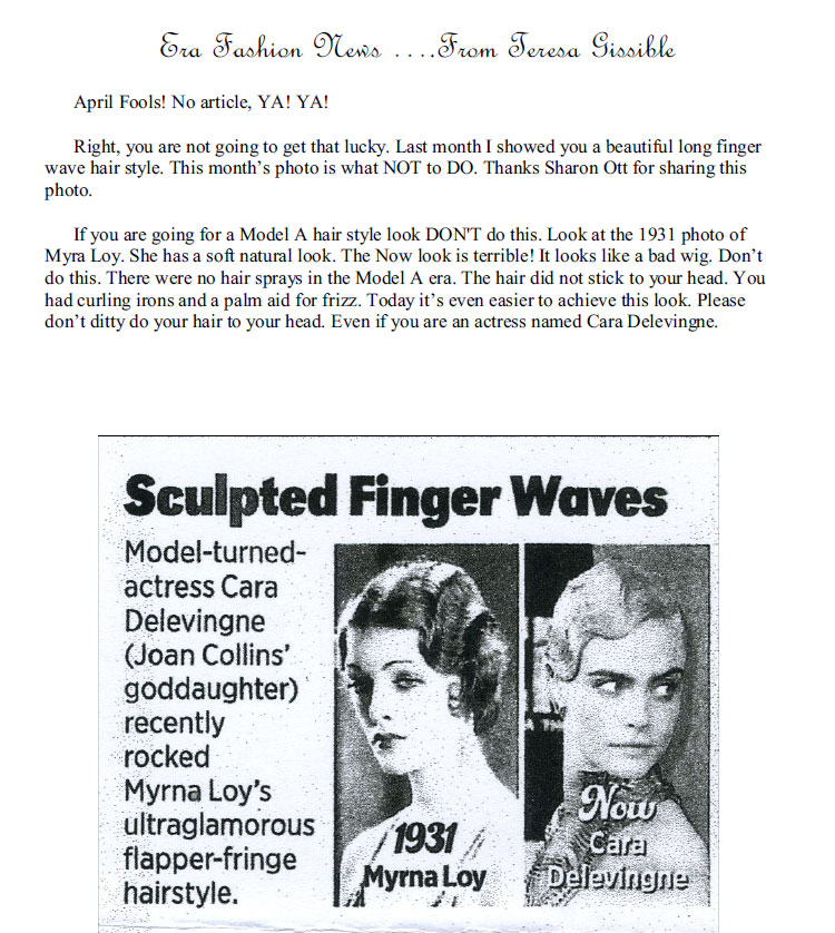 Long Finger Wave Hair Styles of 1930