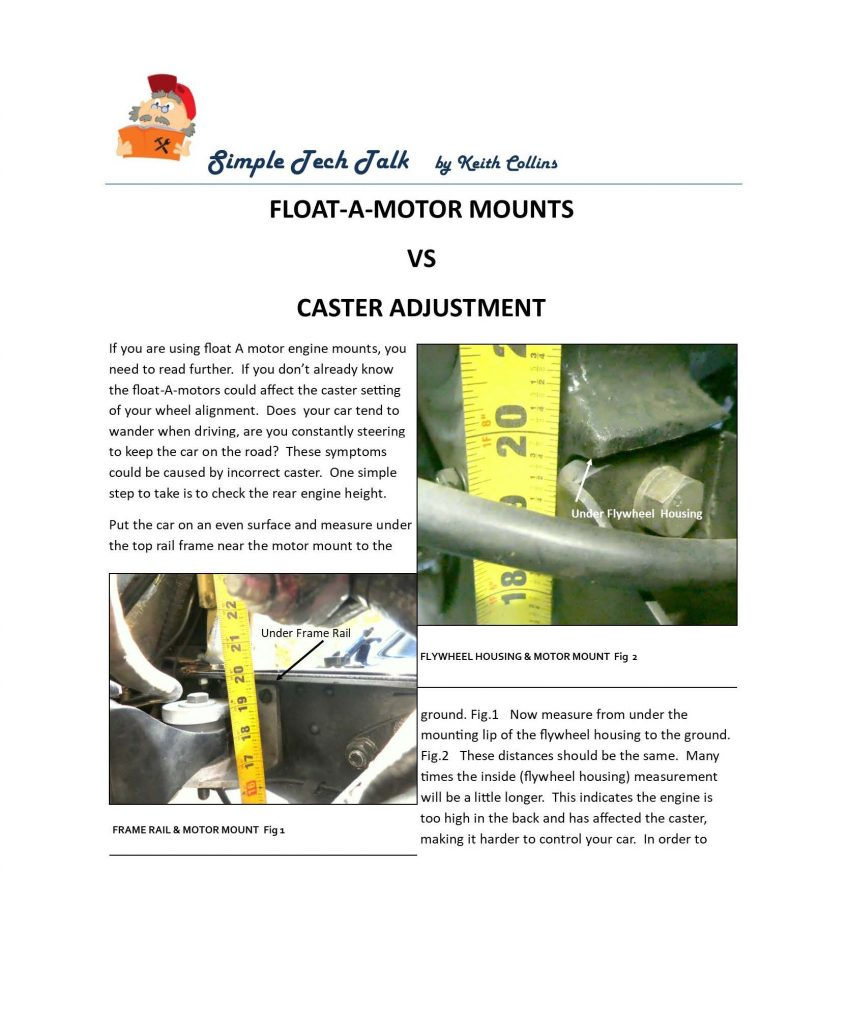 Float-a-motor mounts vs caster adjustment